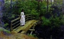 Летний пейзаж ( Вера Алексеевна Репина на мостике в Абрамцеве ). 1879