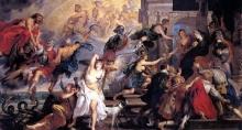 Смерть Генриха IV и провозглашение регентства. Короля, убитого сумасшедшим, поднимают в небеса Юпитер и Сатурн