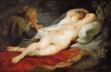 Отшельник и спящая Анжелика (1626-1628) (43 х 66) (Вена, Музей истории искусств)