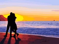 Влюбленные на побережье