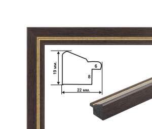 Багетная рамка (коричнево-золотая 2 см) 40х50
