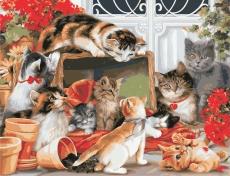Большая компания котов