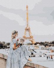 """Картина для росписи по номерам """"Девушка в Париже"""" 40 х 50 см ATG0019"""