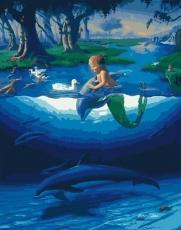 Маленький русал с дельфинамы