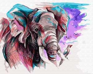 Слон акварелью