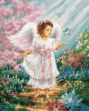Ангелочек в цветущем саду