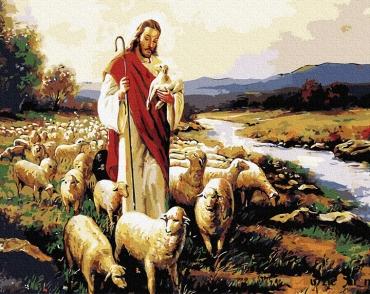 """Картина для росписи по номерам """"Иисус и овцы"""" 40 х 50 см BRM7781"""
